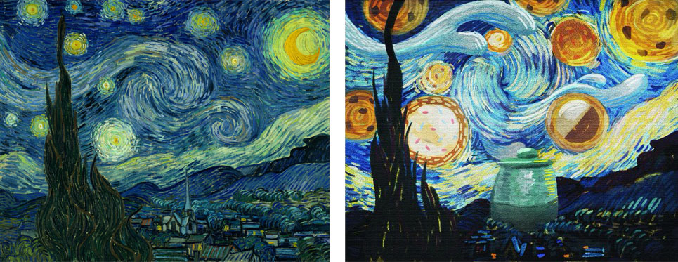Left: Vincent van Gogh. The Starry Night. Saint Rémy, June 1889. Oil on canvas, 29 x 36 1/4″. The Museum of Modern Art, New York. Acquired through the Lillie P. Bliss Bequest Right: Vincent van Dough. The Starry Cookie Night. 2015. Museum of Cookie Art